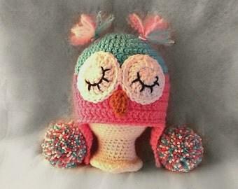 crochet owl hat , owl hat, sleepy owl hat, baby owl hat, newborn owl hat, crochet baby hat, free shipping, baby shower gift