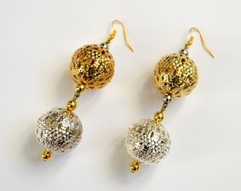 Gold and Silver Lantern Earrings