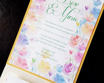 Amaris in Springtime - (Wedding invitation with spring pastels)