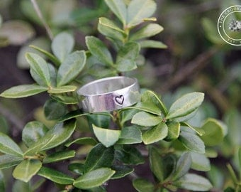 Sterling Silver Heart Stamped Ring