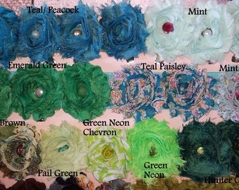 Shabby Chic Hair clips!! Bulk listing, Blues, greens and patterned, infant, toddler, adult, photo prop, bridal