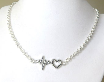 Medical Worker Doctor Nurse Heartbeat Vital Sign Necklace YOU Choose Length and Chain Material