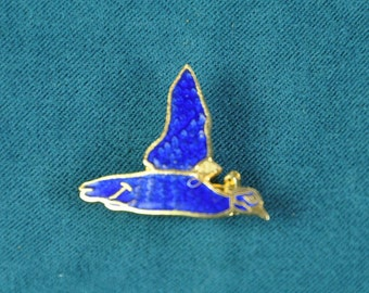 Enamel on Gold Flying Duck Pin 1960s Vintage Retro