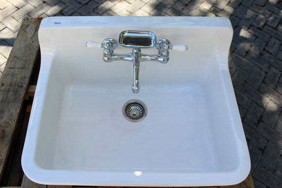 Incarnadine Red Vintage Style High Back Farm Sink Original