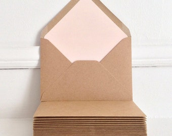 Set of Lined Kraft Envelopes, Wedding Invitation Envelopes, Rustic Wedding, Rustic Kraft Envelopes, Handmade, Blush Pink Envelope Liner