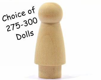 "Girl or Sister with Skirt Peg Doll-Unfinished-Solid Hardwood-Natural/Organic-Finely Sanded-Ready for your Paint or Stain-2"" x 7/8"""