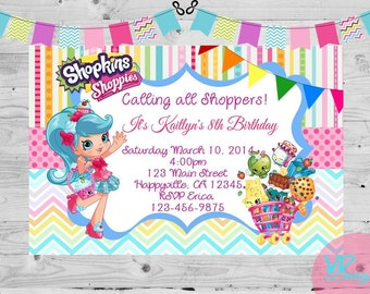 Shopkins Jessicake, Bubbleisha, Popette, Birthday Invitation, Digital File, DIY Printing