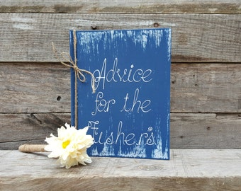 Personalized Rustic Wedding Advice Book with Twine Wrapped Flower Pen, Bridal Shower Gift, Distressed Guest Book, Wedding Advice Book,
