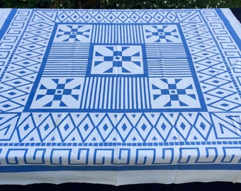 Vintage Blue and White Angles and Squares Vintage Tablecloth 48x51 Unique!