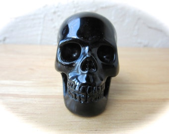 Natural Black Obsidian Carved Crystal Skull 50mm