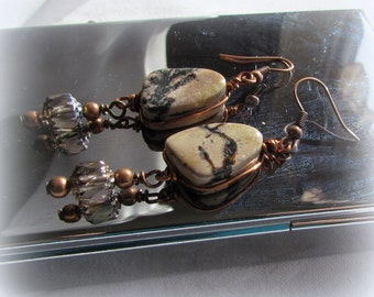 Jasper Earrings Coffee picture Drops