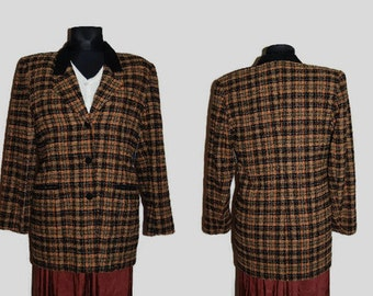 90's plaid women blazer, Made in Finland by Tammi-Tuote