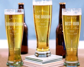 Personalized Engraved Groomsmen Glass, Pilsner Glass, Personalized