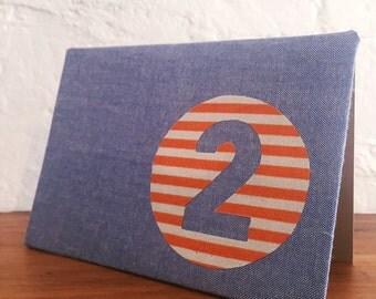 Handmade fabric greeting card - 2nd birthday