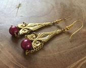 Love Me Tender - One of a kind pair of dangling earrings with a vintage look. Goldtone and red pink faux pearl. victorian, art nouveau.