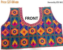 Indian Saree Blouse Free size Top Handwork Multi color Fabric Indian Blouse with Sleeves Choli Top-FREE SIZE UNSTITCHED-IDB29