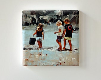 Tiny Canvas | Collecting Pippies | Children In Art | Canvas Print | Wall Art | Brother and Sister | Small Art Print | Present | Collectible