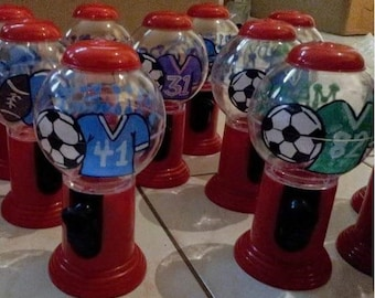 Sports Gumball Machine Favors, Personalized Gumball Dispensers, Custom Candy Party Favors