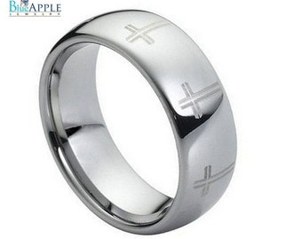 8mm Men's Tungsten Carbide Laser Engraved Cross Wedding Engagement Band Ring Comfort Fit 5-15