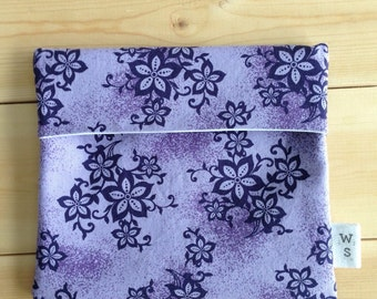 Purple flower reusable snack bag
