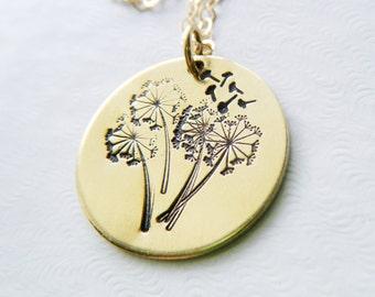 Dandelion necklace Dandelion wish necklace Hand stamped dandelion charm pendant Dandelion jewelry Gold dandelion Boho necklace