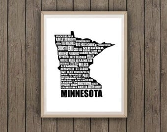 Map of Minnesota, Typographic Map, Minneapolis, Instant Download, Minnesota Map, Word Art, Wall Art, Black, White, Typography, 8 x 10""
