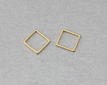 Square Brass Connector . Polished Gold Plated . 10 Pieces / C4023G-010