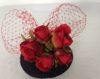 Vintage Inspired Red Rose Fascinator