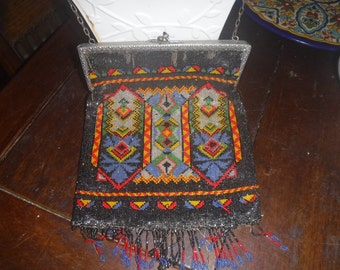 1900 beaded purse with beaded fringe