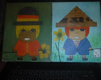 two fabulous oil pantings of children of the 60's by Sylvia