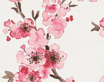 Pink Cherry Blossom Organic Fabric - By The Yard - Girl / Floral / Fabric