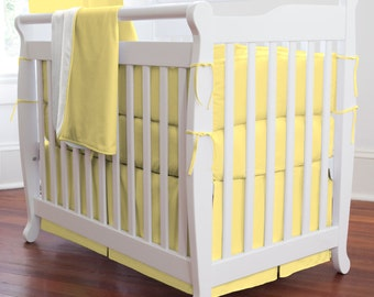 Solid Banana Girl Mini Crib Bumper / Boy Mini Crib Bedding / Gender Neutral Mini Crib Bedding