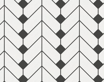 Charcoal Diamond Herringbone Organic Fabric - By The Yard - Girl / Boy / Gender Neutral