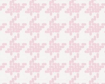Pink Modern Houndstooth Fabric - By The Yard - Girl / Herringbone