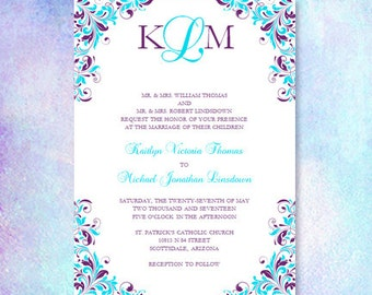 "Purple & Turquoise Wedding Invitation ""Kaitlyn"" Printable Template Make Your Own Invitations All Colors Av Instant D Word.doc DIY U Print"