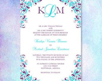 Navy Blue Yellow Wedding Invitations Kaitlyn