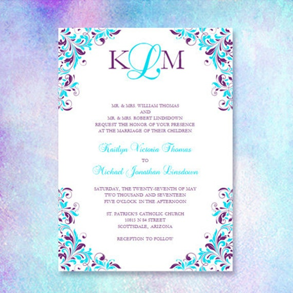 purple & turquoise wedding invitation kaitlyn,