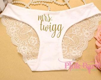 FAST SHIPPING White Lace Personalized Sexy Bridal Panty Bridal Panties Bridal Underwear Cheeky Panties