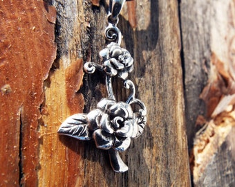 Pendant Silver Rose Sterling Handmade Flower 925 Floral Necklace Jewelry Floral Dark Gothic