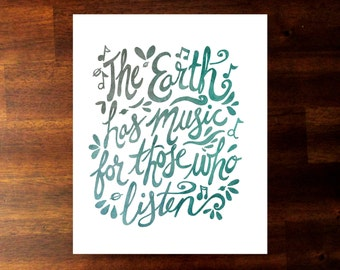 Printable quote, Shakespeare quote, The Earth has music for those who listen, instant download, watercolor quote