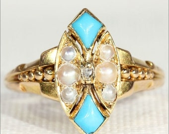 SALE Antique Edwardian Pearl, Turquoise, and Diamond Ring, 18k Gold Navette
