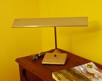 "Beige Florescent Metal Desk Lamp ~ ""Sightmaster"" ~ Art Specialty Co., Chicago, IL ~ Adjustable ~ 1960s?"