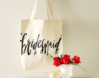 Bridesmaid Tote Bags - Bridesmaid Gift, Maid of Honor Gift, Favor Bags, Gift Bags, Bridal Party Bags Bride Bag Wedding Tote Bag