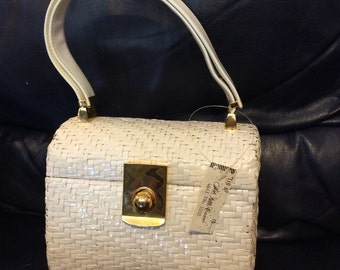 FREE SHIPPING! Vintage Deadstock White Wicker 'Koret' Saks Fifth Ave Handbag NWT