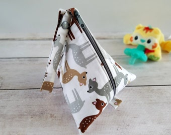 Plush Pacifier Holder | Baby Pacifier Pouch | Strap Pacifier Pod | Pacifier Case | Woodland Baby Shower Gift | Triangle Bag | Zipper Pouch