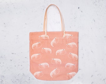 SHRIMP pink - bag with leather handles - 100% cotton