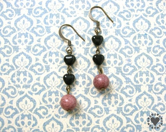 Jazzy - antiqued brass finish earrings, black glass hearts, dusty rose bead - All donated to animal charity