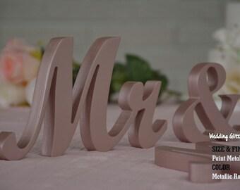 MR & MRS Rose Gold, Rose Gold Wedding Decorations, Rose Gold Sign, Rose Gold Centerpieces, Rose Gold