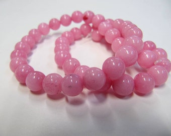Jade Beads, 8 MM, Rhodonite, Pretty Pink, Round, 15.5 Inch Strands, Approx. 46 Beads, Shiny and Beautiful