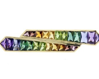 Rainbow Gemstone Brooch 18K Gold
